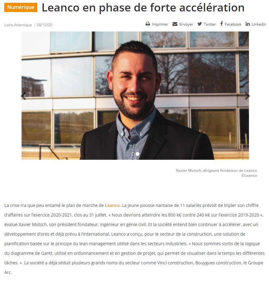 LeanCo à l'honneur dans la lettre API